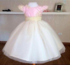 Vestido Rosa e Branco Luxo - Infantil