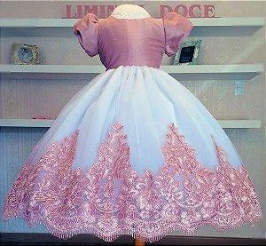 Vestido Luxo com Renda Rosa - Infantil