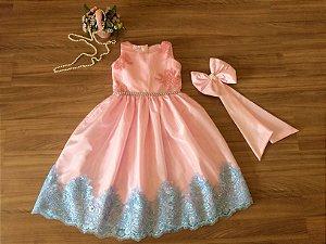 Vestido Rosa e Azul bebê - Infantil