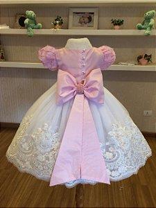 Vestido de Daminha Branco e Rosa- Infantil