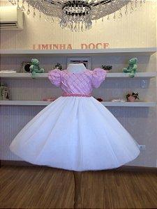 Vestido Branco e Rosa para Madrinhas - Infantil