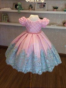 Vestido Tiffany e Rosa para Daminhas de Aliança - Infantil