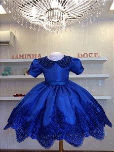 Vestido Azul Royal Tema Cinderela - Infantil