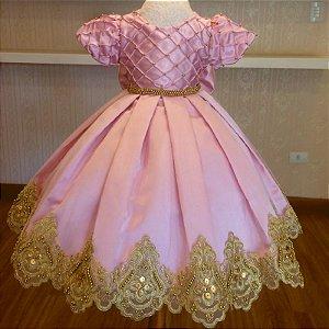 Vestido de Luxo Rosa com Dourado - Infantil