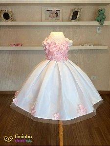 Vestido Branco e Rosa - Infantil