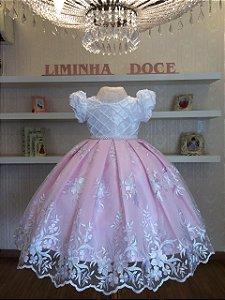 Vestido de Festa Rosa Com Branco - Infantil