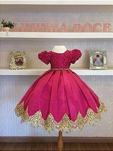 Vestido de Luxo Pink com Dourado - Infantil