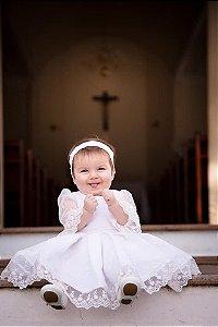 Vestido de Batizado na cor Off White- Infantil