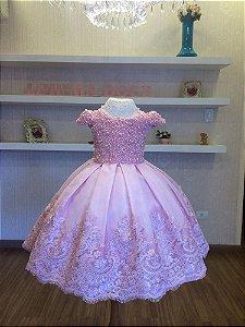 Vestido de Daminhas Bordado em Perolas Rosa - Infantil