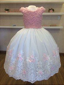 Vestido de Princesa Bordado em Perolas Rosa - Infantil