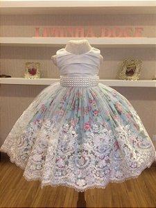 Vestido de Daminha Floral Azul  - Infantil