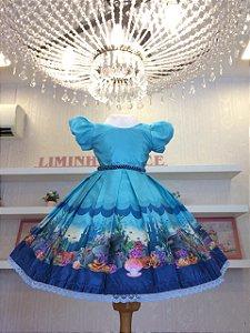 Vestido De Festa  Fundo Do Mar- Infantil