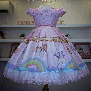 Vestido Rosa Carrossel Luxuoso -Infantil