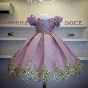 Vestido de Festa Rose Com Dourado - Infantil