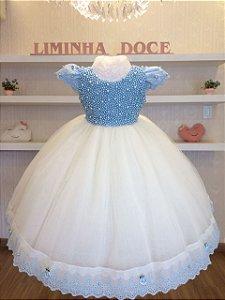 Vestido Infantil Luxo Bordado Em Perolas Azul-Infantil