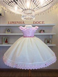 Vestido Infantil Rosa Com Perola -Infantil