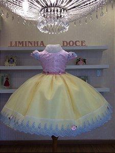 Vestido Infantil Rosa Com Amarelo -Infantil