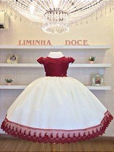 Vestido Infantil Marsala Com Perola  -Infantil