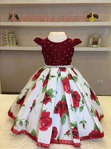 Vestido de Festa Para Natal  Floral Vermelho - Infantil