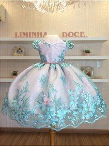 Vestido de Festa Bosque das Borboletas Rosa Com Tiffany - Infantil