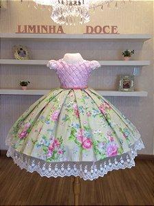 Vestido Festa Floral Com Rosa-Infantil