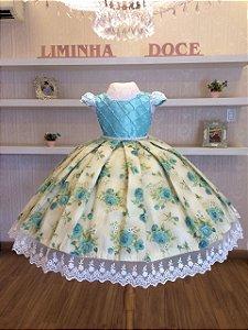 Vestido Festa Floral  Verde Água -Infantil