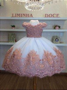 Vestido Infantil Luxo Bordado Em Perolas Rose-Infantil