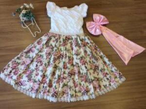 Vestido Festa Floral Com Flores Rose  -Infantil