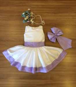 Vestido Para Festa Branco com Lilas