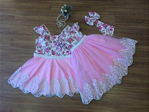 Vestido Mae e Filha Floral Pink Com Barrado de Renda Branca- Mãe e Filha