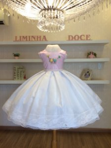 Vestido Rosa Com Branco -Infantil
