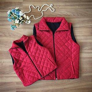 Colete Inverno Matelassê  Vermelho- Mãe e Filha