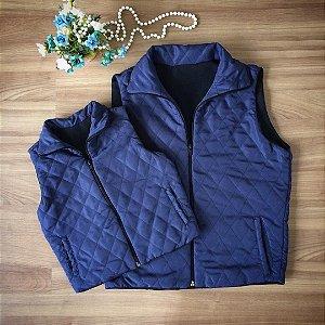 Colete Inverno Matelassê  Azul Marinho- Mãe e Filha