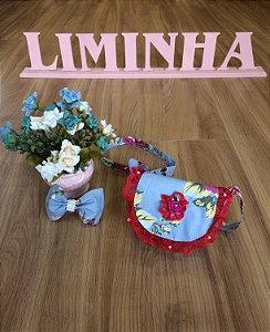 Kit Bolsa e Laço Floral - Infantil