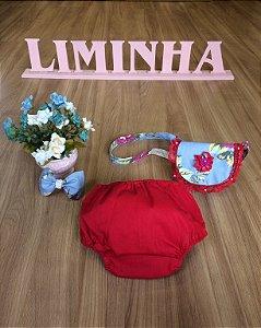 Kit Bolsa e Laço Floral e Tapa Fralda-Infantil