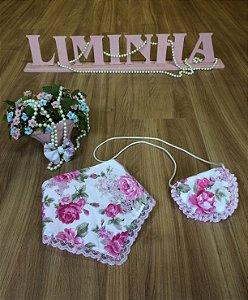 Kit Bolsa e Babador Floral Pink-Infantil