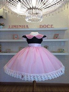 Vestido Festa Minnie rosa-Infantil