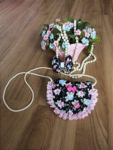 kit Bolsa e Laço Floral Preto-Infantil
