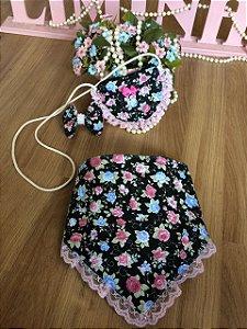 kit Babador e Bolsa Floral-Infantil