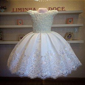 Vestido Daminha Off Com Perolas-Infantil