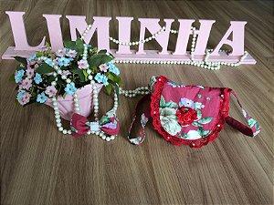 Kit Bolsa e Laço Floral Vermelho-Infantil