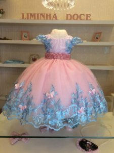 Vestido de Festa das Borboletas - Vestidos de festa Infantil