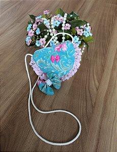 Bolsa  e Laço de Cabelo Floral-Acessórios