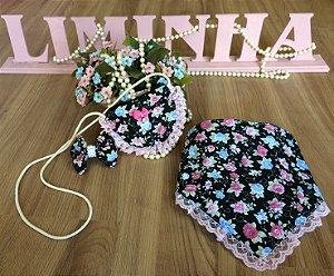 Babador e Bolsa Floral Preto-Acessórios