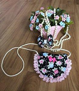 Bolsa Floral Preto-Acessórios