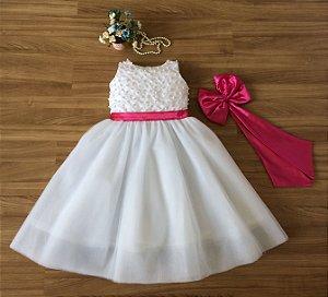 Vestido Para Aia Branco Faixa Pink  - Daminhas de Honra