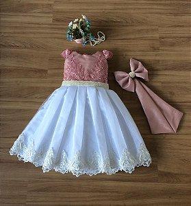 Vestido Festa Luxo Rose e branco -vestidos de festa infantil