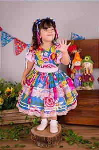 Vestido de Festa Junina Floral Com Renda - vestidos para festa junina