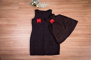 Vestido básico de lanzinha Marrom- Mãe e Filha