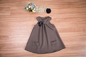 Vestido Trapézio lanzinha cor  chumbo  - Infantil